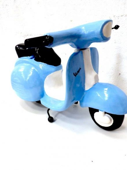 XL Blue Wooden Vespa Moneybox Large Statement Italian Scooter Ornament